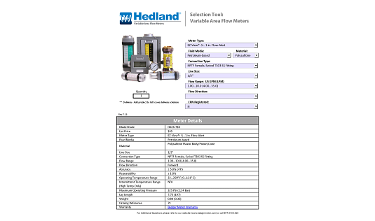 Hedland Selection & Pricing Tool